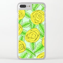 Golden Roses // Floral Print Clear iPhone Case