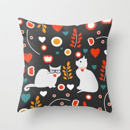Valentine decor with cats Throw Pillow