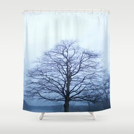 Bare Tree in a Blue Fog Shower Curtain