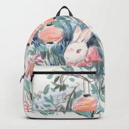 Bunny with Lilies & Lanterns Backpack
