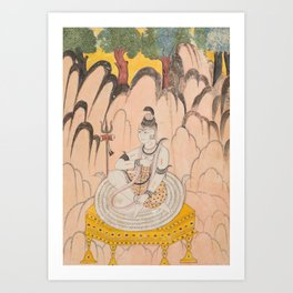 Shiva Seated on a Throne in a Landscape - 18th Century Classical Indian Art Art Print