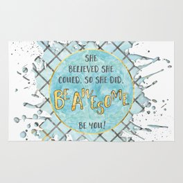 Text Art SHE BELIEVED | cyan/white splashes Rug