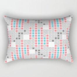 BRIXHAM, RETRO SQUARES: TURQUOISE, PINK on WHITE Rectangular Pillow
