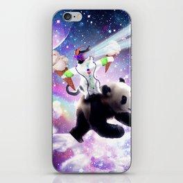 Lazer Rave Space Cat Riding Panda Eating Ice Cream iPhone Skin