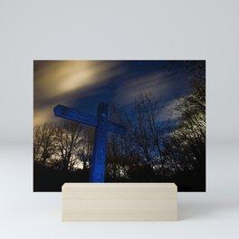 Signpost under night sky Mini Art Print