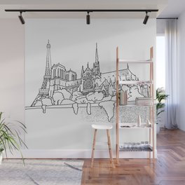 Notre Dame and Eiffel Tower travel scene Wall Mural