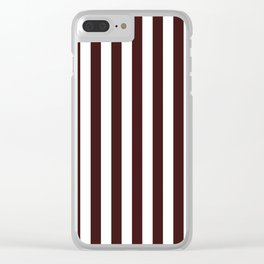 Narrow Vertical Stripes - White and Dark Sienna Brown Clear iPhone Case