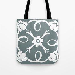 White Rosette Green Grey Tote Bag