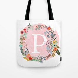 Flower Wreath with Personalized Monogram Initial Letter P on Pink Watercolor Paper Texture Artwork Tote Bag