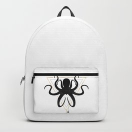 Black Gold Octopus Silhouette Triangle Geometric Backpack