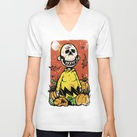 charlie brown V-neck T-shirts featuring Charlie Brown - The Original Pumpkin King by Neil McKinney