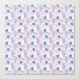 Pretty Purple Dragonfly and Floral Print Canvas Print