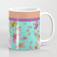 aelwen Mugs featuring beach roses mint by Ariadne