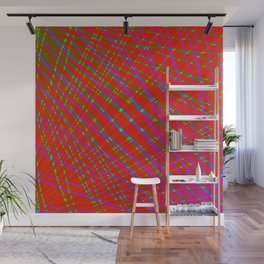 Many rays of blue light with symmetrical bright waves on red black. Wall Mural