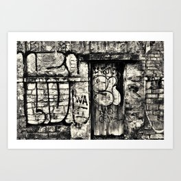 downtown olomouc black and white city wall Art Print