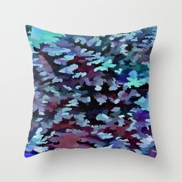 Foliage Abstract Camouflage In Aqua Blue and Black Throw Pillow