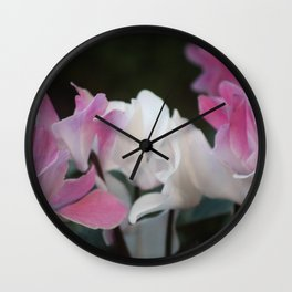 Pastel Persian Cyclamen Flowers Wall Clock