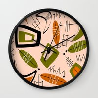 mid century modern Wall Clocks featuring Atomic Mid-Century Modern 2 by Kippygirl