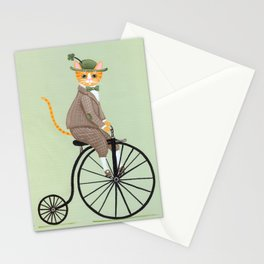 Dandy Cat on a Penny Farthing Bicycle Stationery Cards