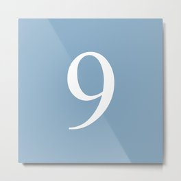 number nine sign on placid blue color background Metal Print