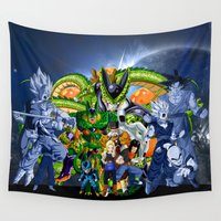 dbz Wall Tapestries featuring DBZ - Cell Saga by Mr. Stonebanks