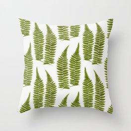 Watercolor Fern Pattern Throw Pillow