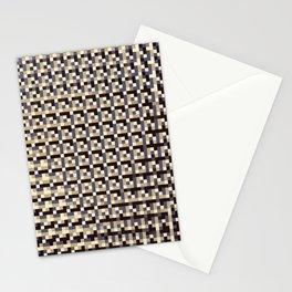 leigh - tan beige black ivory indigo geometric mosaic pattern Stationery Cards