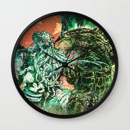Cthulhu vs Godzilla Wall Clock