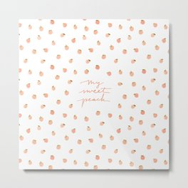 Sweet Peach Polka Dot, White Metal Print