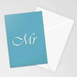 Mr Monogram Pale Teal Cursive Stationery Cards