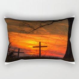 Cross and the sunset Rectangular Pillow