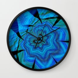 Vision in Blue Interrupted Again Wall Clock