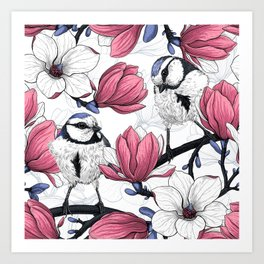 Pink magnolia and blue tit birds Art Print