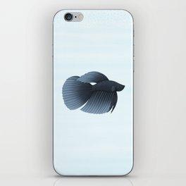 betta splendens black veiltail male iPhone Skin