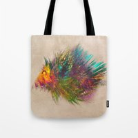 hedgehog Tote Bags featuring hedgehog by jbjart