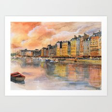 Sunset over Honfleur Art Print