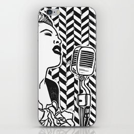 Lady Day (Billie Holiday block print blk) iPhone Skin