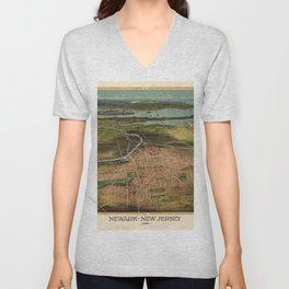 Map Of Newark 1916 Unisex V-Neck