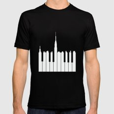 Piano city Mens Fitted Tee Black LARGE