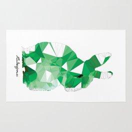 Geometric Animal - Green Bunny Rug