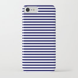 Navy Blue & White Maritime Small Stripes - Mix & Match with Simplicity of Life iPhone Case