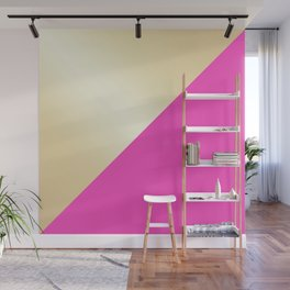 Modern hot pink & gold color block Wall Mural