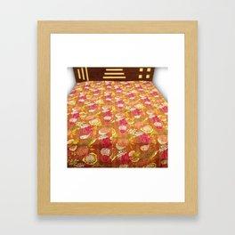 Handmade Fruit Print Kantha Blanket Framed Art Print