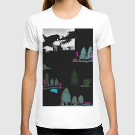 Through The Trees. Trees, Birds, Abstract, Black, White, Jodilynpaintings T-shirt