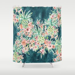 PINEAPPLE PARTY Lush Tropical Boho Floral Shower Curtain