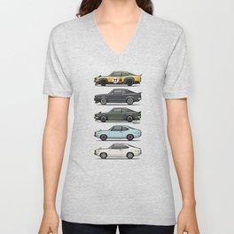 Stack of Mazda Savanna GT RX-3 Coupes Unisex V-Neck
