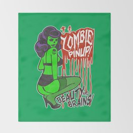 Zombie Bombshell Pinup Throw Blanket
