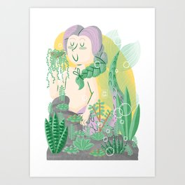 """Succulents"" Mermaid Art Print"