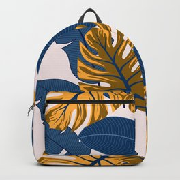 Original seamless tropical pattern with bright plants and leaves on a light background. Seamless exotic pattern with tropical plants. Tropic leaves in bright colors. Hawaiian style. Backpack