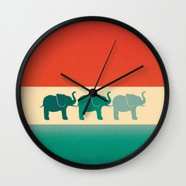 Three Elephants - Burnt orange, cream & teal Wall Clock